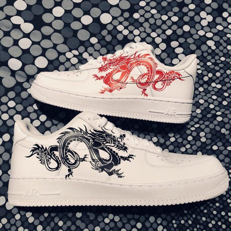 tritt kunst custom sneakers nike air force dragon custom