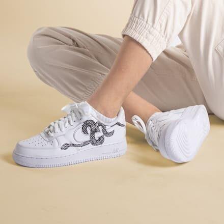 tritt-kunst custom sneakers custom nike air force snake