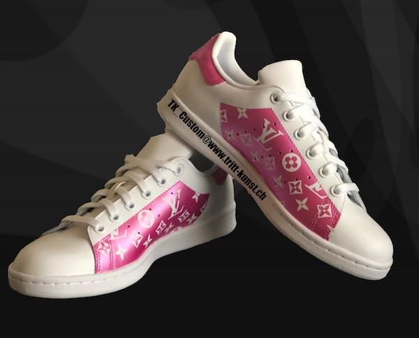 custom sneaker adidas stan smith pink lv