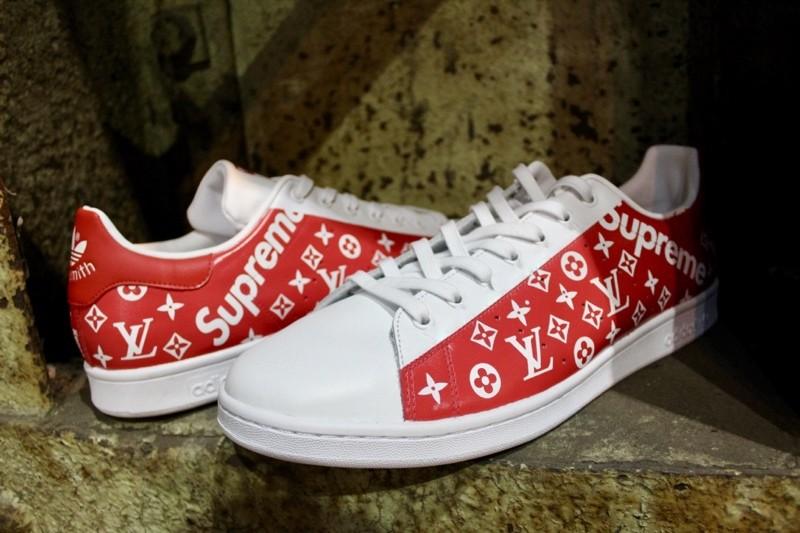 custom adidas stan smith red lv supreme