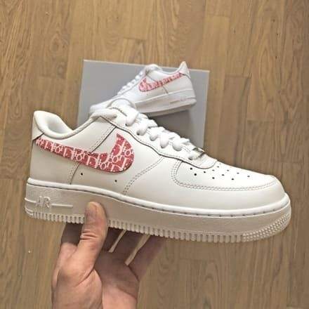 custom sneaker nike air force baby pink dior swoosh