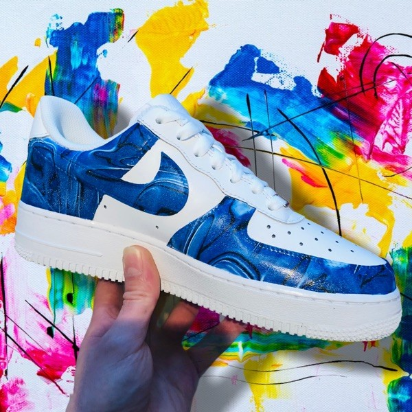 custom sneaker nike air force hydrodipping blue