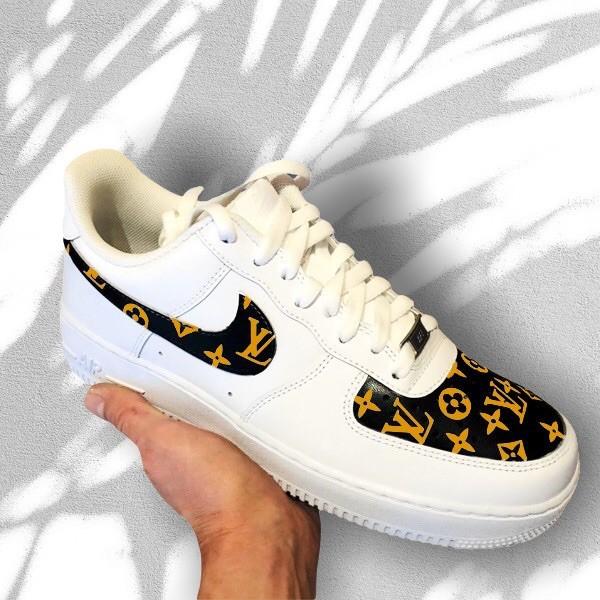 custom sneaker nike air force lv gold