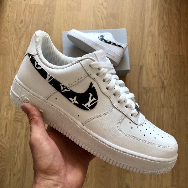 custom sneaker nike air force black lv swoosh