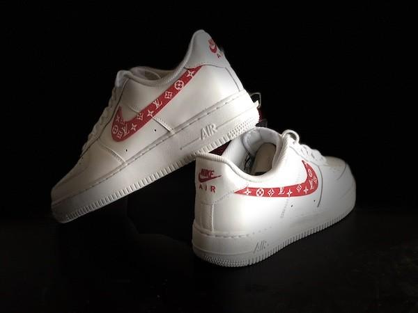 custom sneaker nike air force red lv swoosh