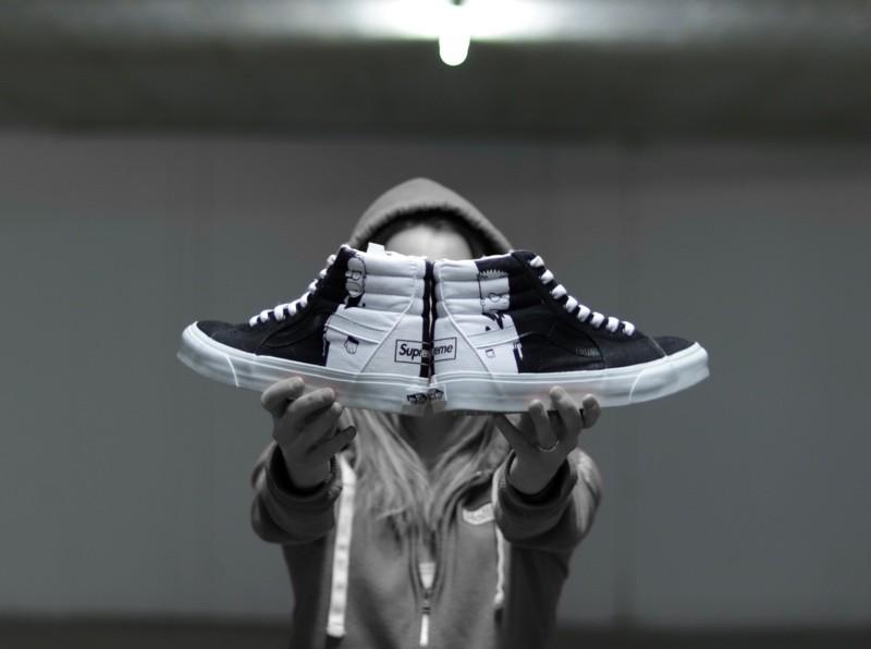 custom sneaker vans scarface homer bart supreme
