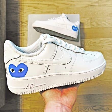 tritt kunst custom sneakers nike air force cog blue custom