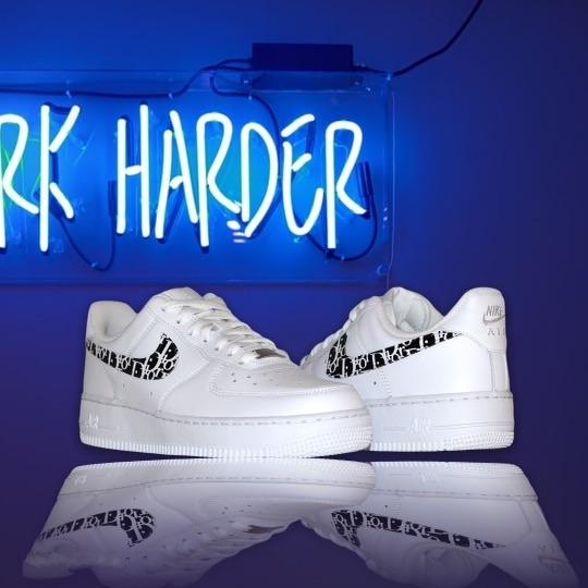 custom sneaker nike air force black dior swoosh