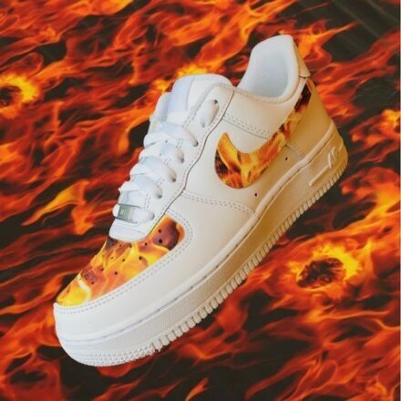 Nike Air Force Fire and Flame Hydrodipping custom