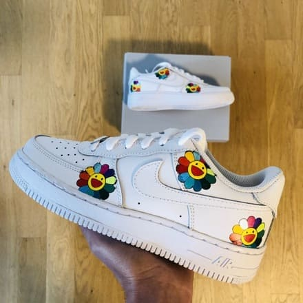 tritt-kunst custom sneakers custom nike air force Murakami flower