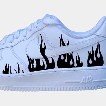 tritt-kunst custom sneakers nike air force flame custom