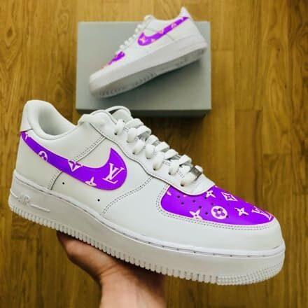tritt-kunst custom sneakers custom-nike-air-force-purple-lv